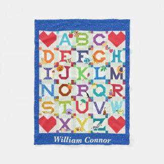 Baby Boy Alphabet Quilt Design Fleece Blanket