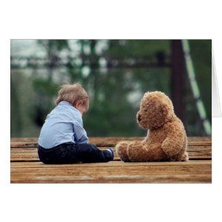 Baby Boy and Teddy Bear Greeting Card