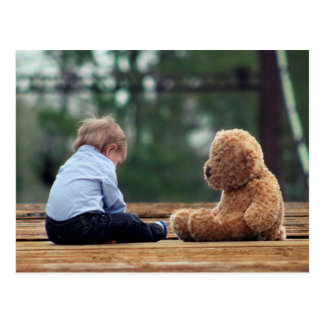 Baby Boy and Teddy Bear Postcard