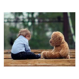 Baby Boy and Teddy Bear Postcard
