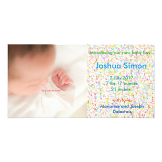 Baby Boy Announcement, photograph and Customised Photo Card