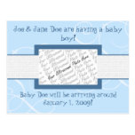 Baby Boy Announcement Post Cards