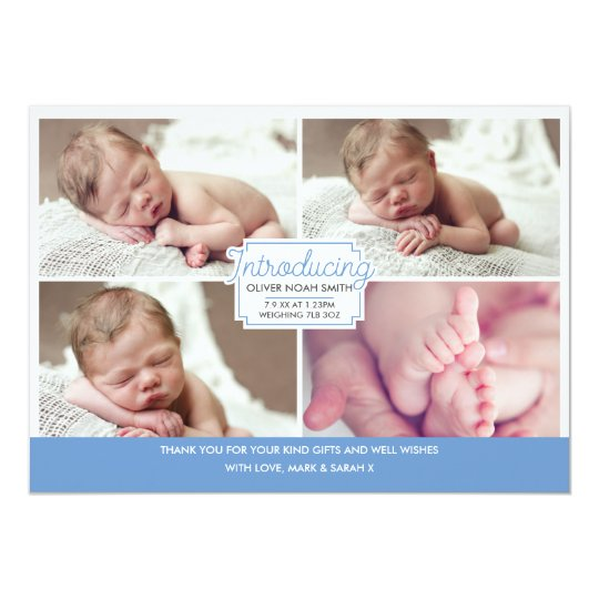 Baby boy announcement/thank you card