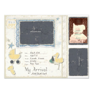 Baby Boy Arrival Scrapbook Title Page Art Photo
