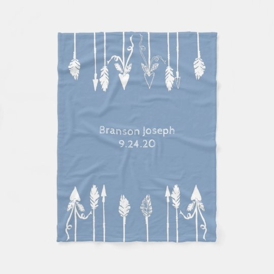 Baby Boy Arrows and Feathers Personalised Blanket