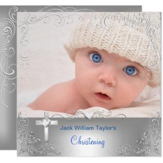 Baby Boy Baptism Christening Silver Cross Card