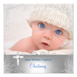 Baby Boy Baptism Christening Silver Cross Card