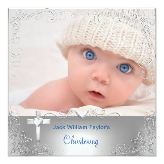"Baby Boy Baptism Christening Silver Cross 5.25"" Square Invitation Card"