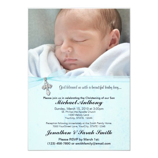 Baby Boy Baptism Or Christening Invitation Zazzle Co Uk