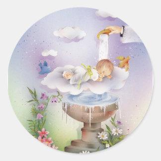 Baby boy baptism round sticker