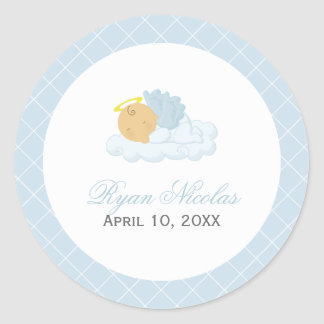 Baby Boy Baptism Round Sticker