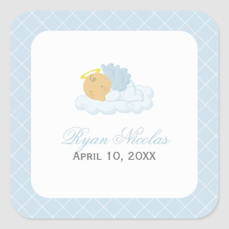 Baby Boy Baptism Square Sticker