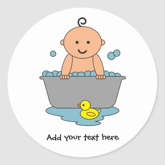 Baby Boy Bath Time Classic Round Sticker