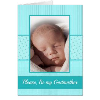 Baby Boy be my Godmother Invitation Greeting Card