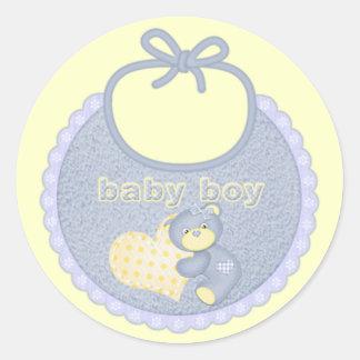 Baby Boy Bib Bear Heart Stickers