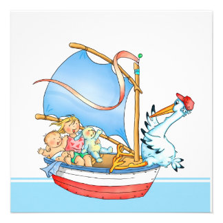 Baby Boy Big Sister in Boat Birth Announcement