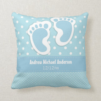 Baby Boy Birth Announcement Name Date Polka Dot Cushion
