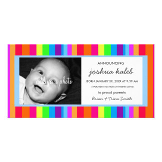 BABY BOY BIRTH ANNOUNCEMENT PHOTO GREETING CARD
