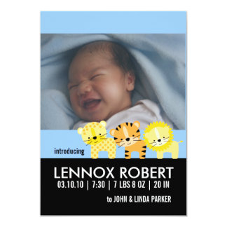 "Baby Boy Birth Announcement Photo Cards 5"" X 7"" Invitation Card"