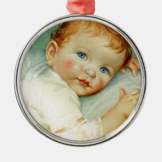 Baby boy birth/birthday Silver-Colored round decoration