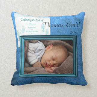 Baby Boy Birth Photo Keepsake Cushion
