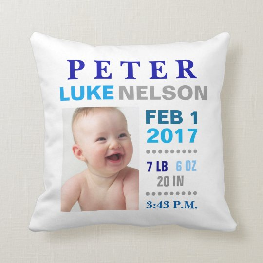 Baby Boy Birth Stats Nursery Room Pillow