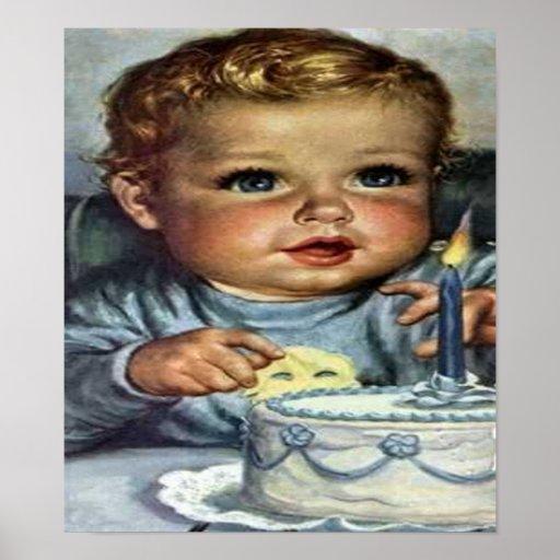 Baby Boy Birthday #1 Retro Art Print Poster