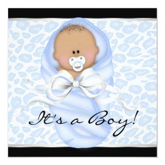 Baby Boy Black Blue Leopard Baby Shower 13 Cm X 13 Cm Square Invitation Card