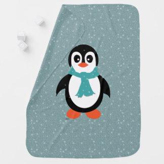 Baby boy blanket penguin in flurry