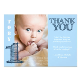 Baby Boy Blue 1st Birthday Thank You Photo Card 13 Cm X 18 Cm Invitation Card