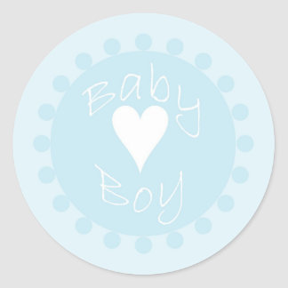 Baby boy blue and white heart shower stickers