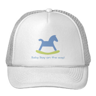 Baby Boy Blue and Yellow Rocking Horse Cap Trucker Hat