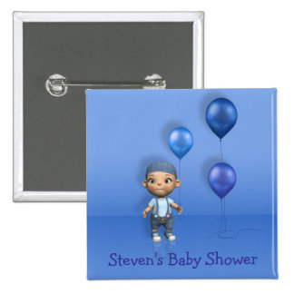Baby Boy & Blue Balloons - Baby Shower Button