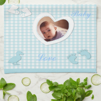 Baby Boy Blue Checks Photo Template Tea Towel