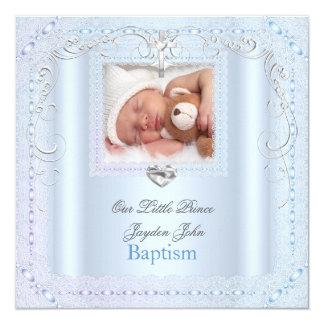 Baby Boy Blue Christening Baptism Cross Prince 13 Cm X 13 Cm Square Invitation Card