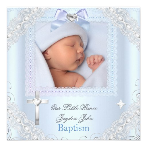 Baby Boy Blue Christening Baptism Cross Prince 3 Personalized Invitations