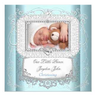 Baby Boy Blue Christening Baptism Cross Prince 5.25x5.25 Square Paper Invitation Card