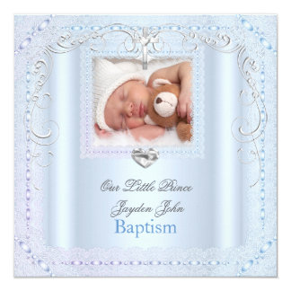 "Baby Boy Blue Christening Baptism Cross Prince 5.25"" Square Invitation Card"