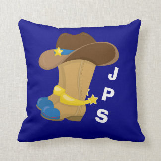 Baby Boy Blue Cowboy Boots Hat Western Customized Cushion