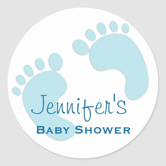 Baby Boy Blue Footprint Simple Shower Stickers