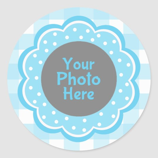 Baby Boy Blue Gingham Photo Classic Round Sticker