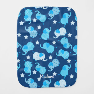 Baby Boy Blue Pattern Elephant Burp Cloth