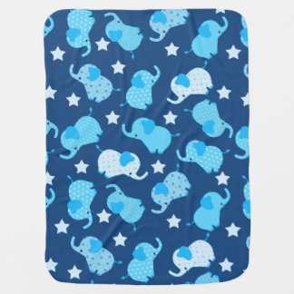 Baby Boy Blue Pattern Elephants Baby Blanket