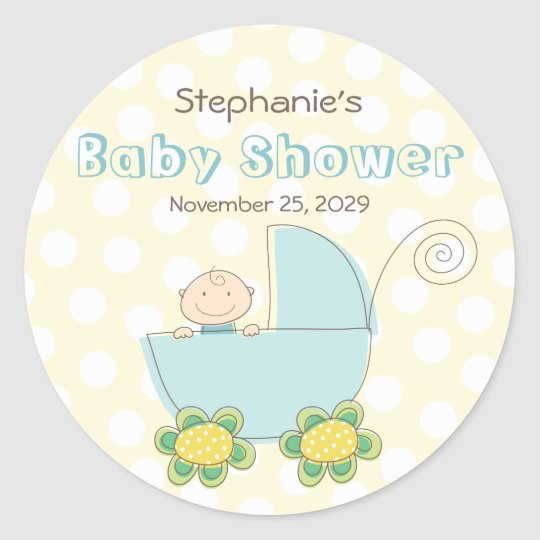 Baby Boy Blue Pram Polka Dots Baby Shower