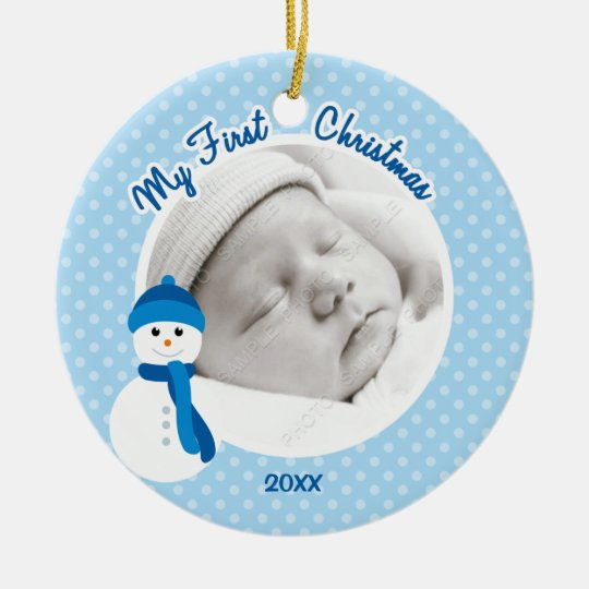 Baby Boy Blue Snowman First Christmas Photo Christmas
