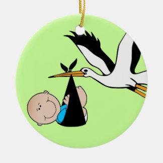 Baby Boy Blue & Stork Christmas Tree Ornament