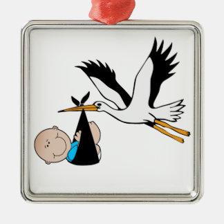Baby Boy Blue & Stork Christmas Tree Ornaments