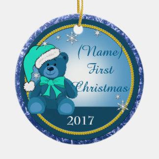 Baby Boy Blue Teddy Bear Personalized Christmas Christmas Ornament