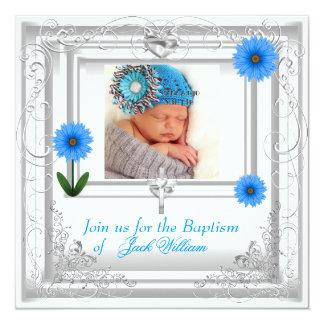 Baby Boy Blue White Christening Baptism Cross 13 Cm X 13 Cm Square Invitation Card
