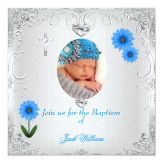 "Baby Boy Blue White Christening Baptism Cross 5.25"" Square Invitation Card"